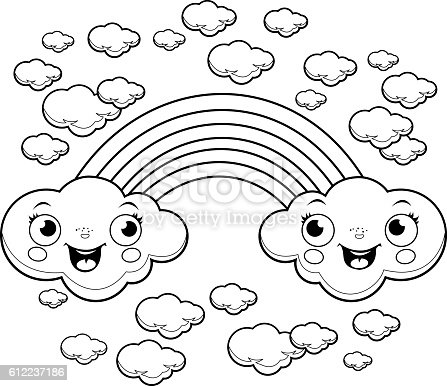 Rainbow Cloud Characters Coloring Page Stock Vector Art