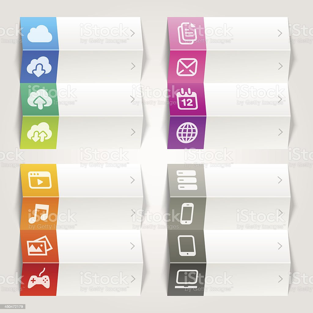 Rainbow - Cloud computing icons / Navigation template royalty-free stock vector art