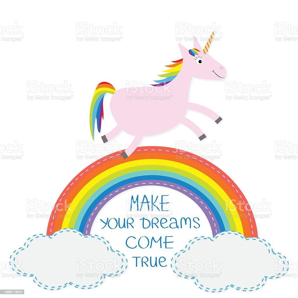 Rainbow Cloud Susse Einhorn Machen Sie Ihre Traume Wahr Werden Flat