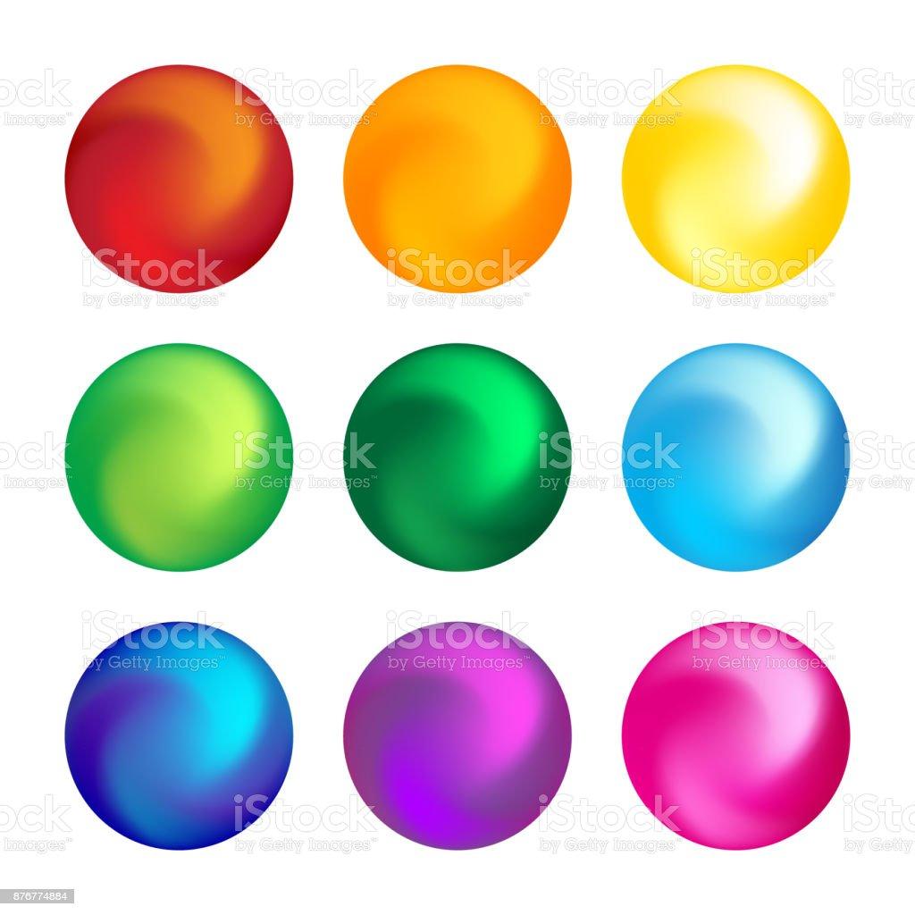 Rainbow color ball threedimensional set design element vector art illustration
