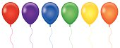 Vector illustration of six different colored Balloons.