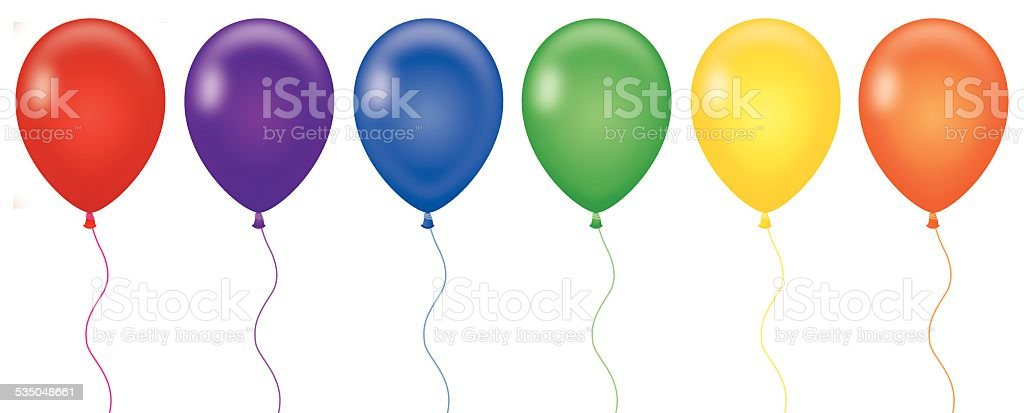 Rainbow Color Balloons vector art illustration