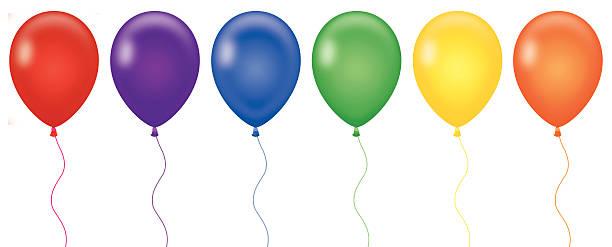 Rainbow Color Balloons vector art illustration