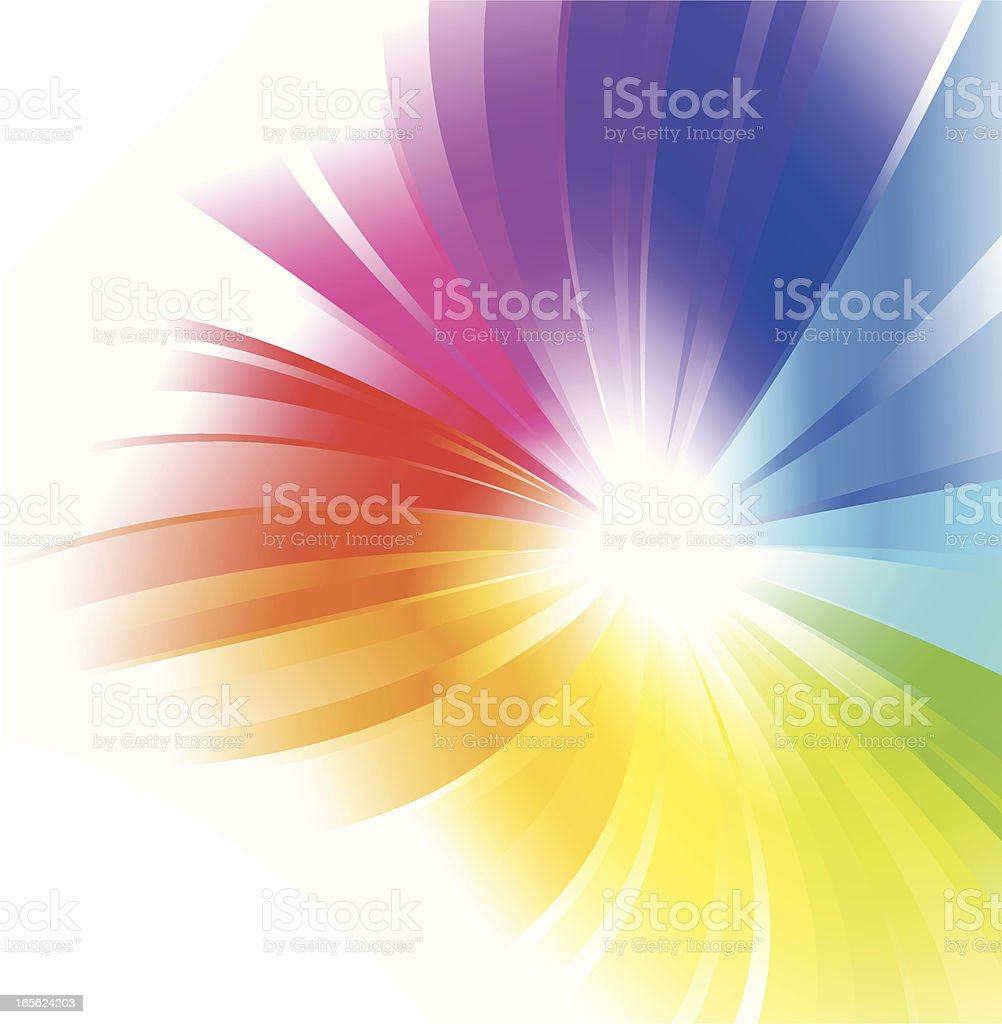 Rainbow color radial background on white background  royalty-free stock vector art
