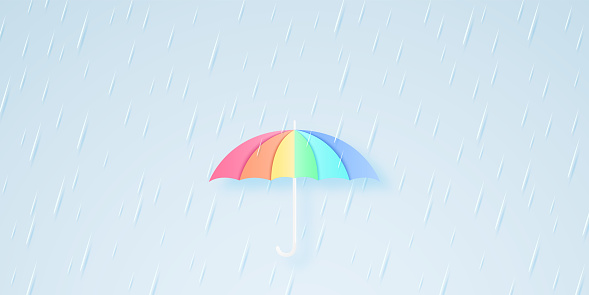 rainbow color umbrella with heavy rain, rainy season, rainstorm, paper art style