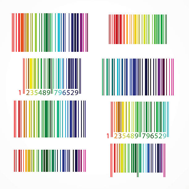Rainbow colored barcode. Vector illustration. vector art illustration