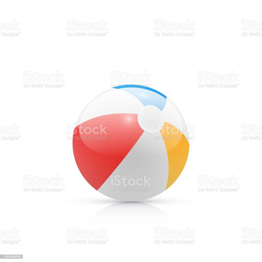 無地の背景に虹色のビーチ ボール ベクターアートイラスト