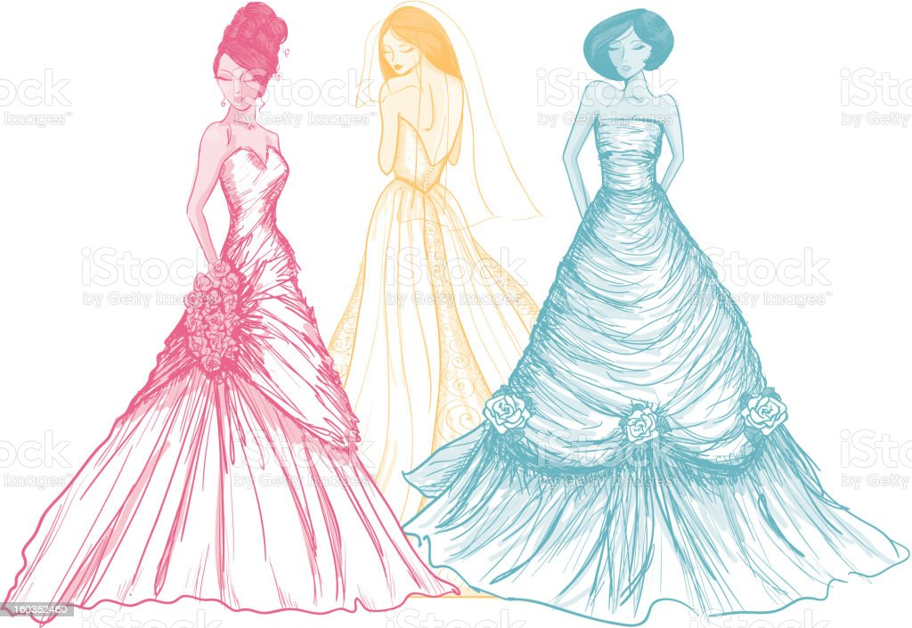 Rainbow colored brides drawn in a sketch like style royalty-free stock vector art