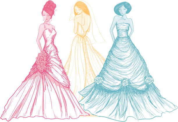 Rainbow colored brides drawn in a sketch like style vector art illustration
