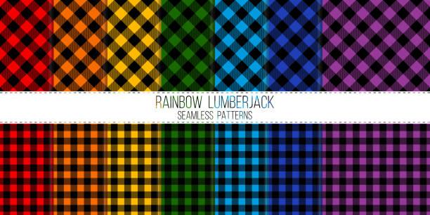 ilustraciones, imágenes clip art, dibujos animados e iconos de stock de arco iris de color oscuro leñador vector conjunto de patrones sin fisuras - fondos de franela