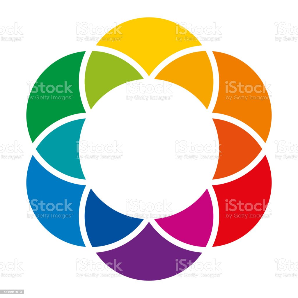 Rainbow colored flower and color wheel vector art illustration
