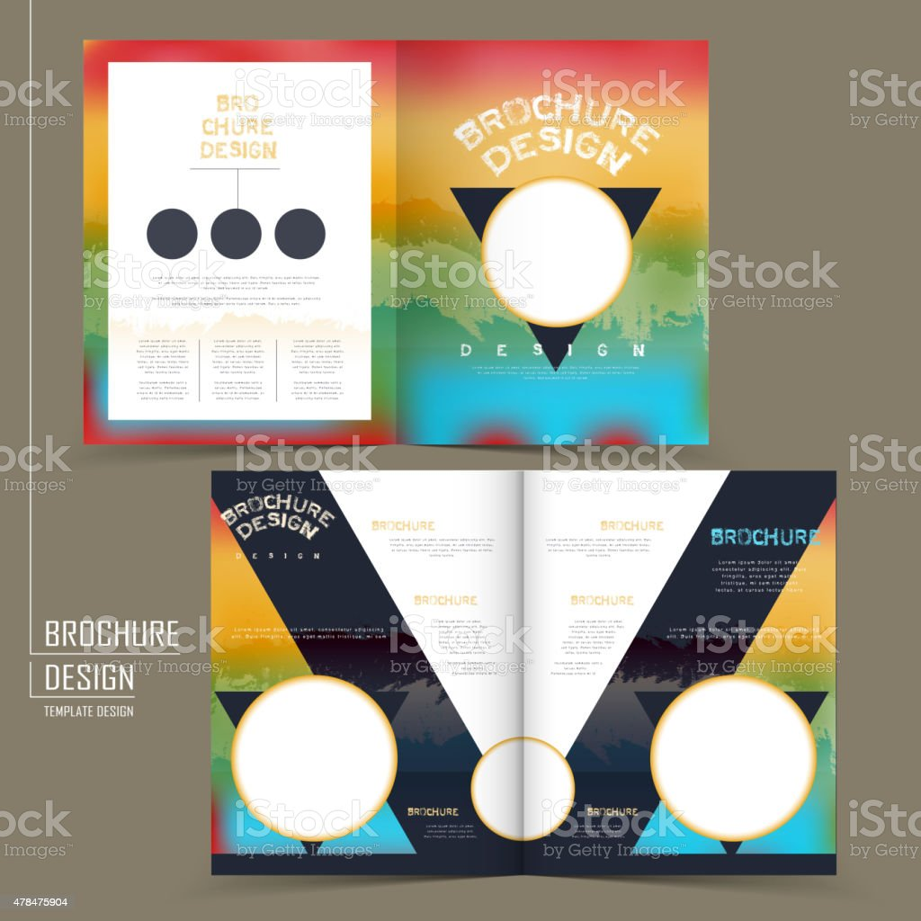 rainbow colored half fold brochure template design royalty free rainbow colored halffold brochure template