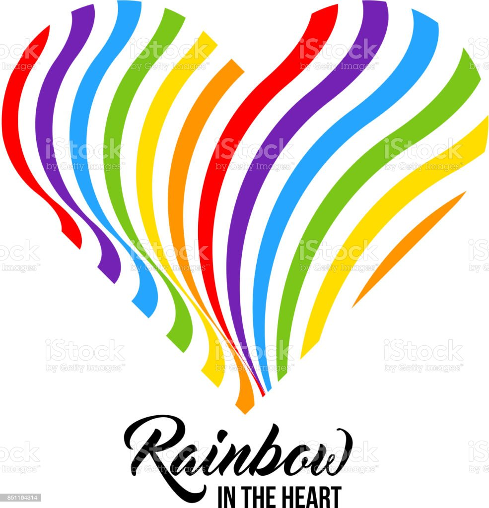 Arco iris colorean corazón, colores LGBT. - ilustración de arte vectorial