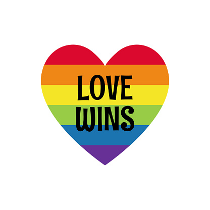 Rainbow colored heart with label love wins