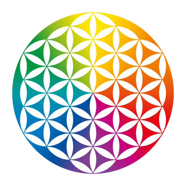 Rainbow colored inverted Flower of Life over white vector art illustration