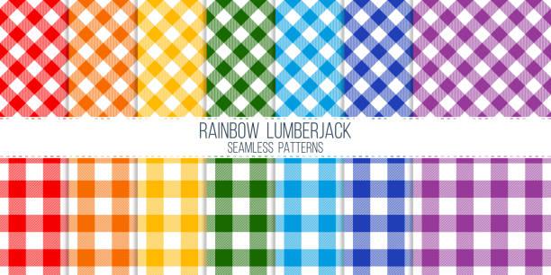 ilustraciones, imágenes clip art, dibujos animados e iconos de stock de arco iris de colores luz leñador vector conjunto de patrones sin fisuras - fondos de franela