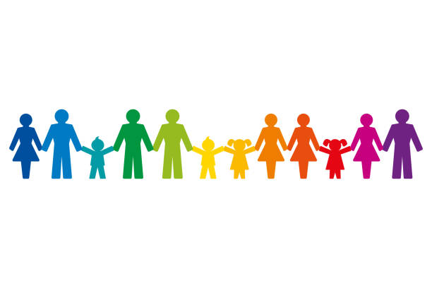 Rainbow colored pictograms of people holding hands, standing in a row vector art illustration