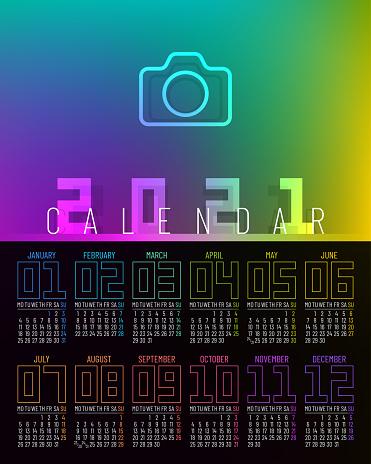Rainbow Colored Poster Calendar 2021 Design Monday Start