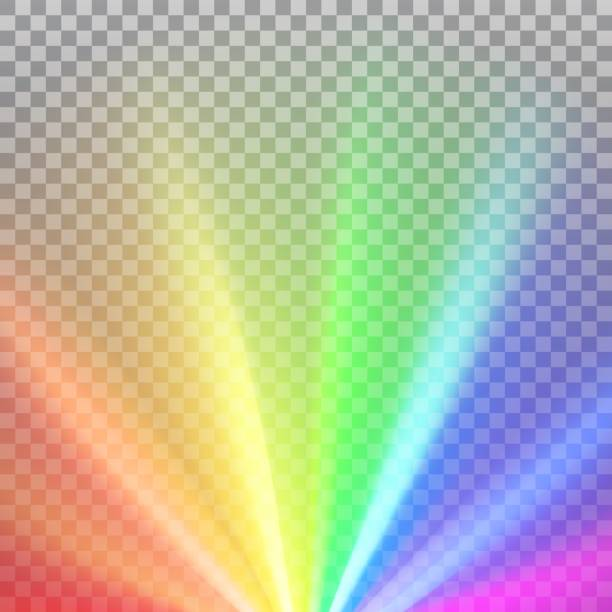 Rainbow colored rays with color spectrum flare Rainbow colored rays with color spectrum flare. Abstract glaring effect with transparency. Vector illustration rainbow stock illustrations