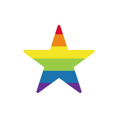 Rainbow colored star. LGBTQ community symbol isolated