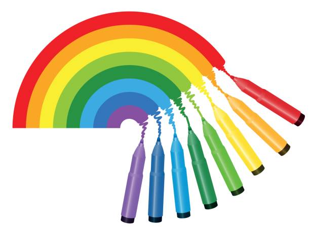 regenbogen-farben-bild - zeichnen acht bunte markierungen die spektrum farben eines regenbogens - isolierte vektor-illustration auf weißem hintergrund. - filzarbeiten stock-grafiken, -clipart, -cartoons und -symbole