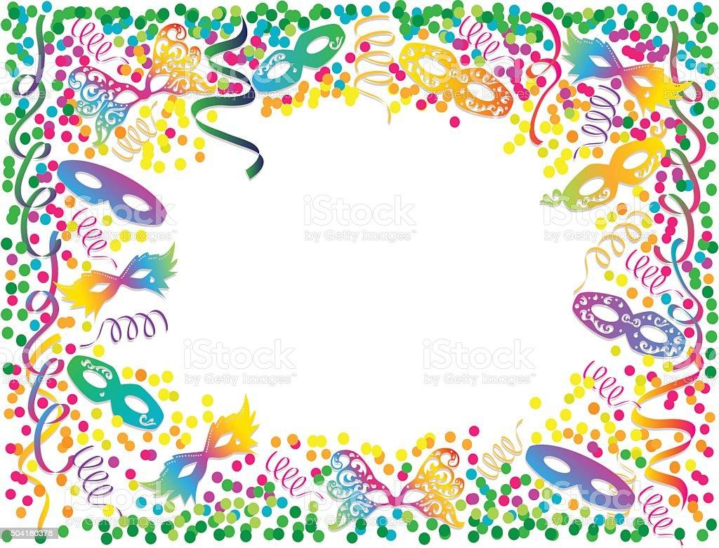 Cores do arco-íris de carnaval quadro com Confete e máscaras - ilustração de arte em vetor