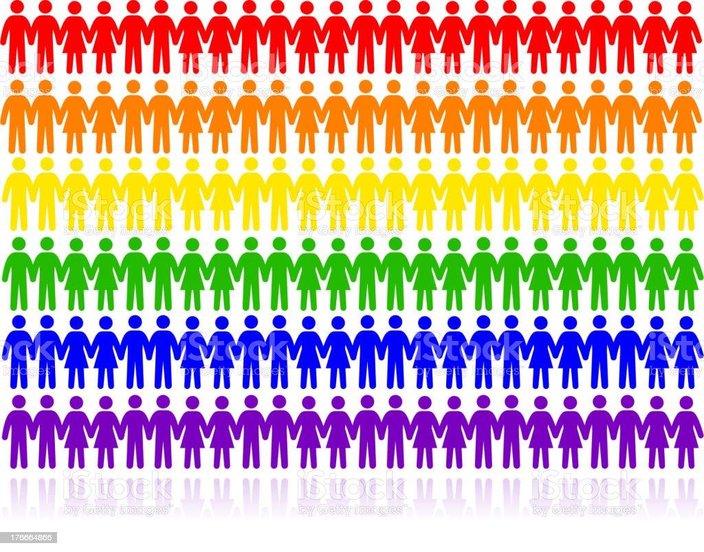 Rainbow Colors, gays, lesbianas, bisexuales y transexuales & la unidad ilustración de rainbow colors gays lesbianas bisexuales y transexuales la unidad y más banco de imágenes de adulto libre de derechos