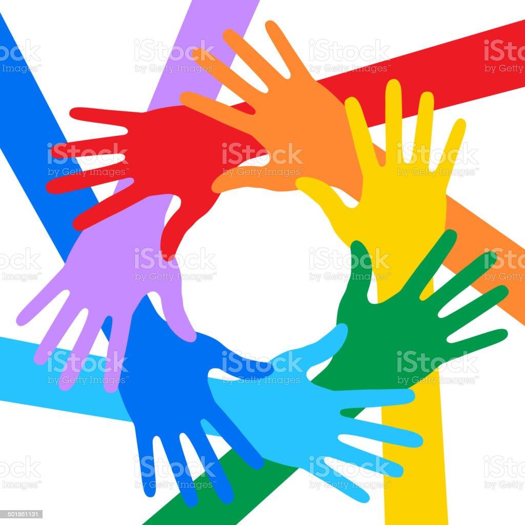 Rainbow Colors Hands Icon vector art illustration