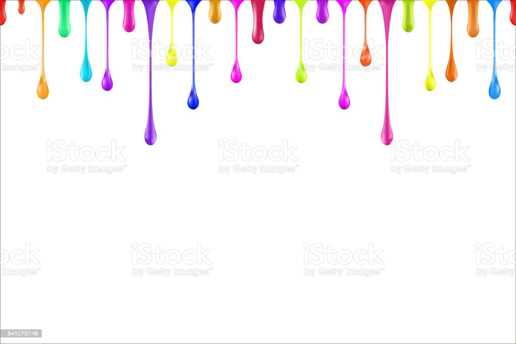 Rainbow colors oil paint glossy drops isolated on white vector art illustration
