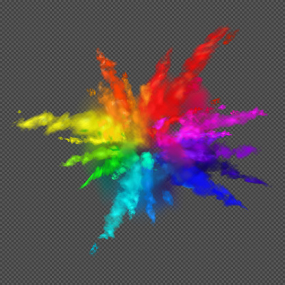 Rainbow colors paint powder and drops. Holi festival invitation. Transparent different clouds of paint powder isolated on gray background. The real effect of transparency. Vector illustration EPS10