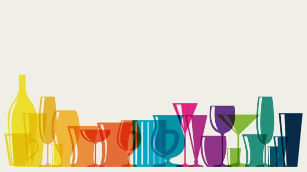Rainbow coloured cocktail glasses vector art illustration