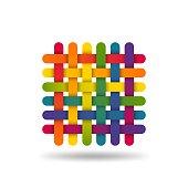 Rainbow coloured interwoven threads. Textile fabric symbol. Vector illustration