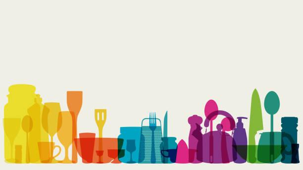 Rainbow coloured kitchen utensils vector art illustration
