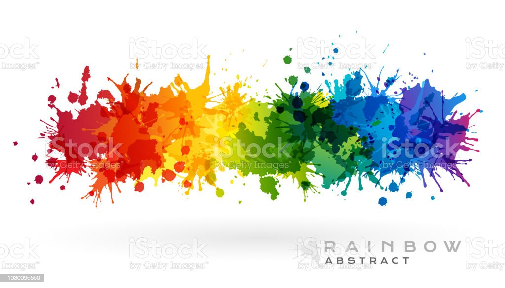 Rainbow creative horizontal banner from paint splashes. royalty-free rainbow creative horizontal banner from paint splashes stock illustration - download image now