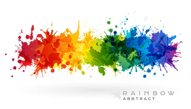 rainbow creative horizontal banner from paint splashes. - насыщенный цвет stock illustrations