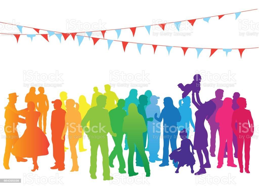 Rainbow Crowd Festivities vector art illustration