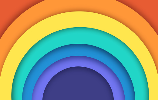 Rainbow Curve Circles Abstract Background Layers