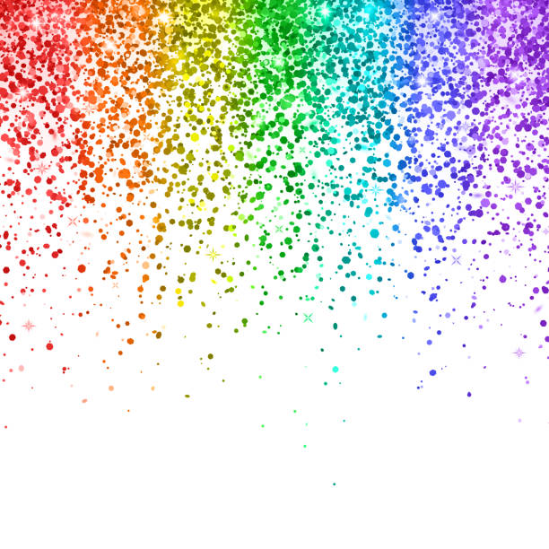 rainbow falling glitter on white background. vector - rainbow glitter background stock illustrations