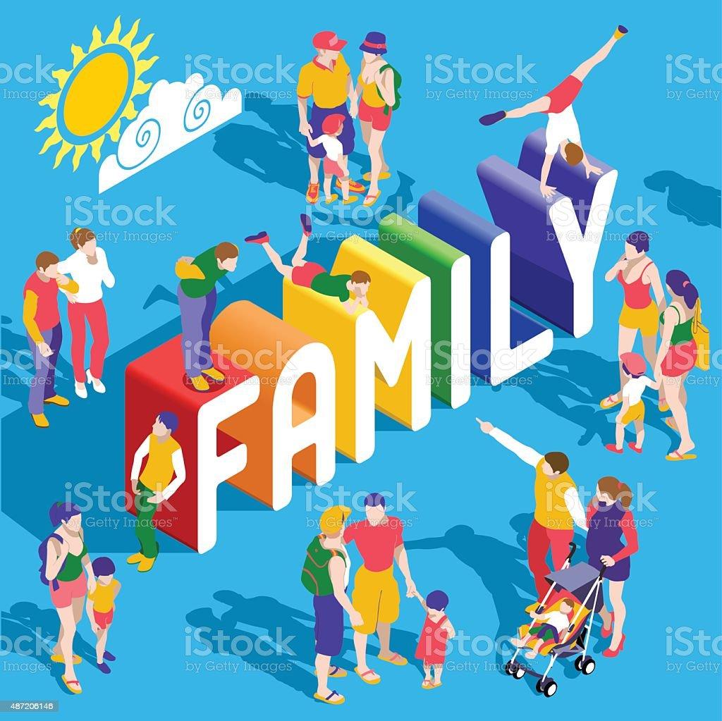 Rainbow familia personas isométricos - ilustración de arte vectorial
