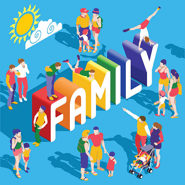 Rainbow Family People Isometric Rainbow Family Lifestyle Interacting People Unique Isometric Realistic Poses. NEW bright palette 3D Flat Vector Icon Set. Extended Family Parents Mother Father Children LGBT Included same sex couples stock illustrations