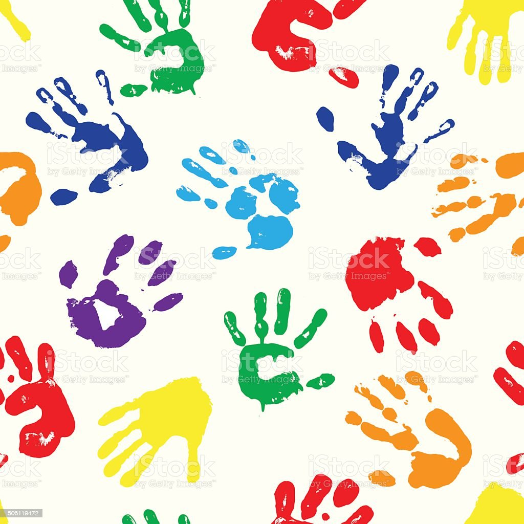 rainbow fingerprints vector art illustration