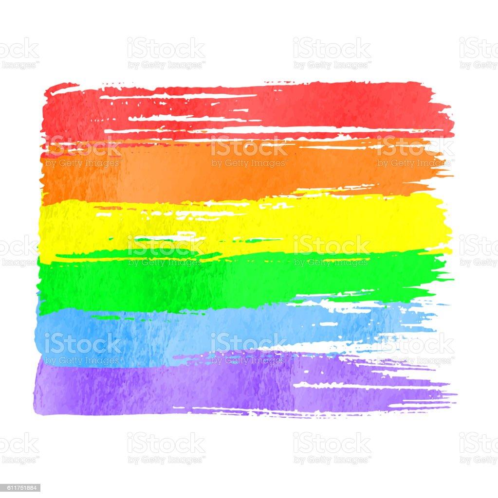 Rainbow flag as symbol of gay pride vector art illustration