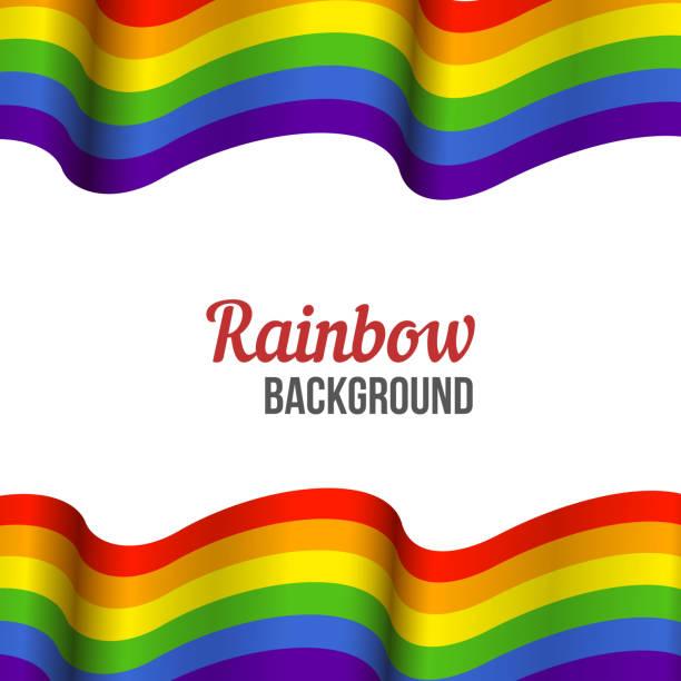 Rainbow flag background, waving LGBT flag on white vector art illustration