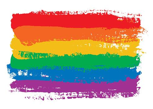 Rainbow flag brush strokes - isolated on white