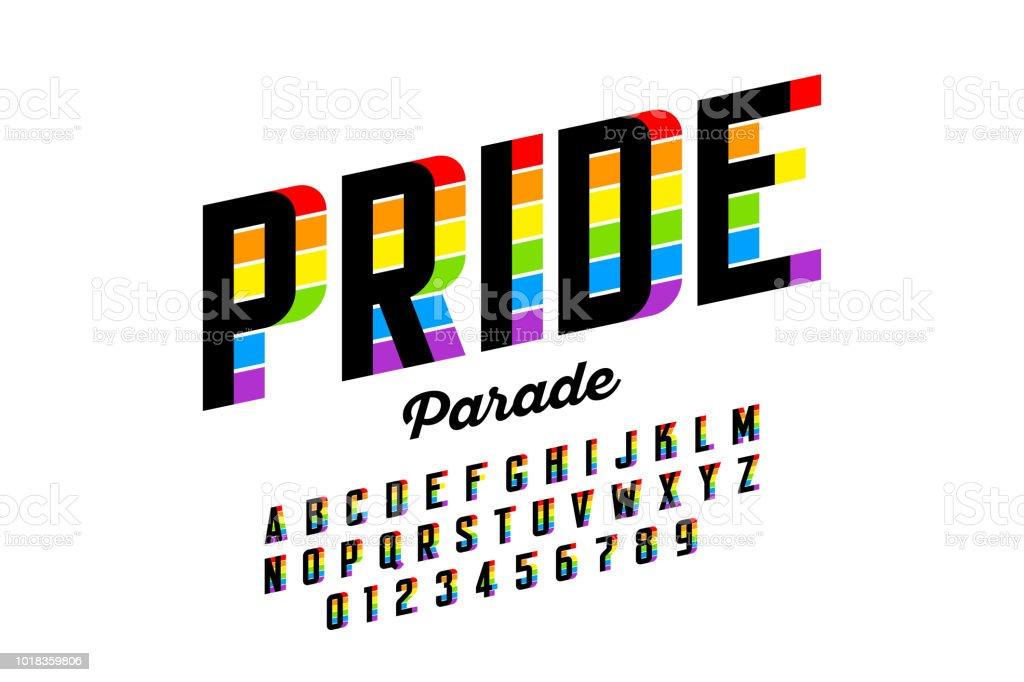 Diseño de fuente de colores de bandera de arco iris - ilustración de arte vectorial