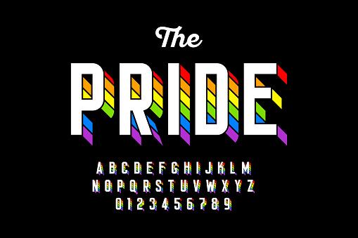 Rainbow flag colors font design