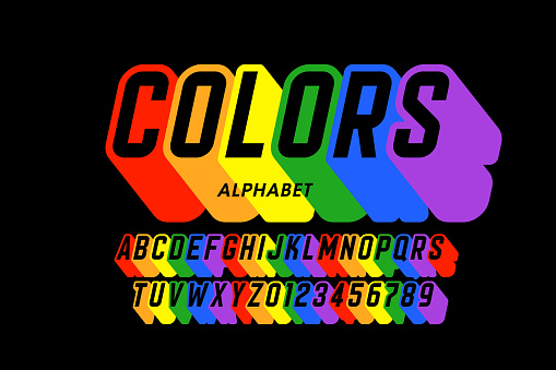 Rainbow flag colors font