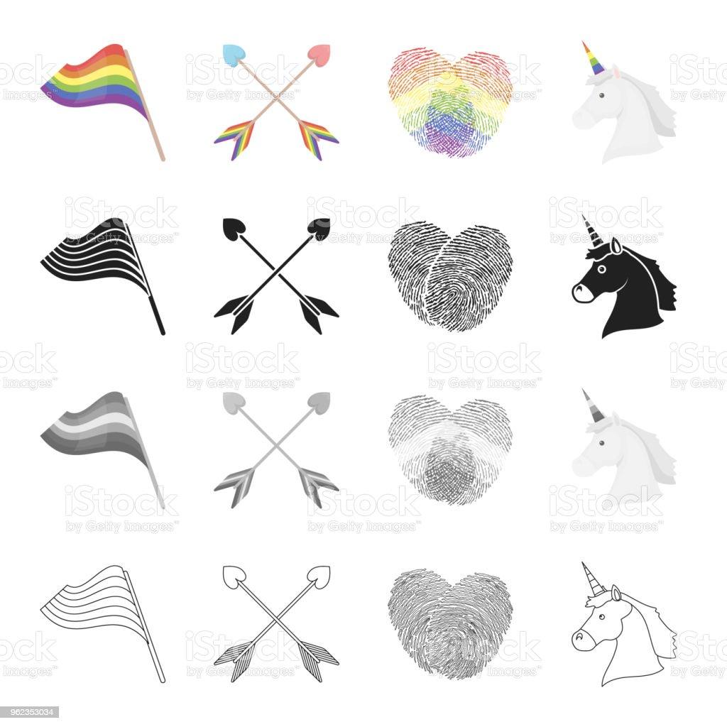 Rainbow flag, crossed arrows, fingerprints, unicorn head. Sexual minority set collection icons in cartoon black monochrome outline style vector symbol stock illustration web. vector art illustration