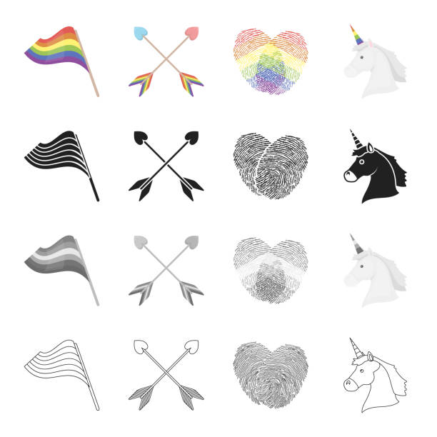 rainbow flag, crossed arrows, fingerprints, unicorn head. sexual minority set collection icons in cartoon black monochrome outline style vector symbol stock illustration web. - minority stock illustrations, clip art, cartoons, & icons