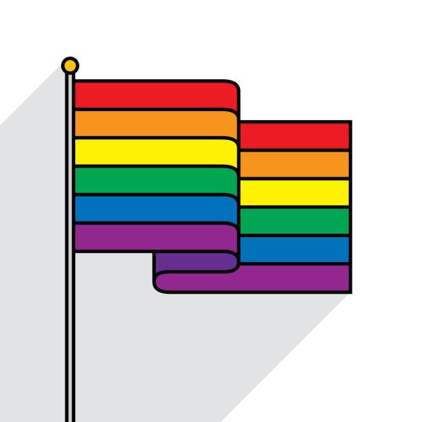 bildbanksillustrationer, clip art samt tecknat material och ikoner med rainbow flagga platt disposition - homosexuell
